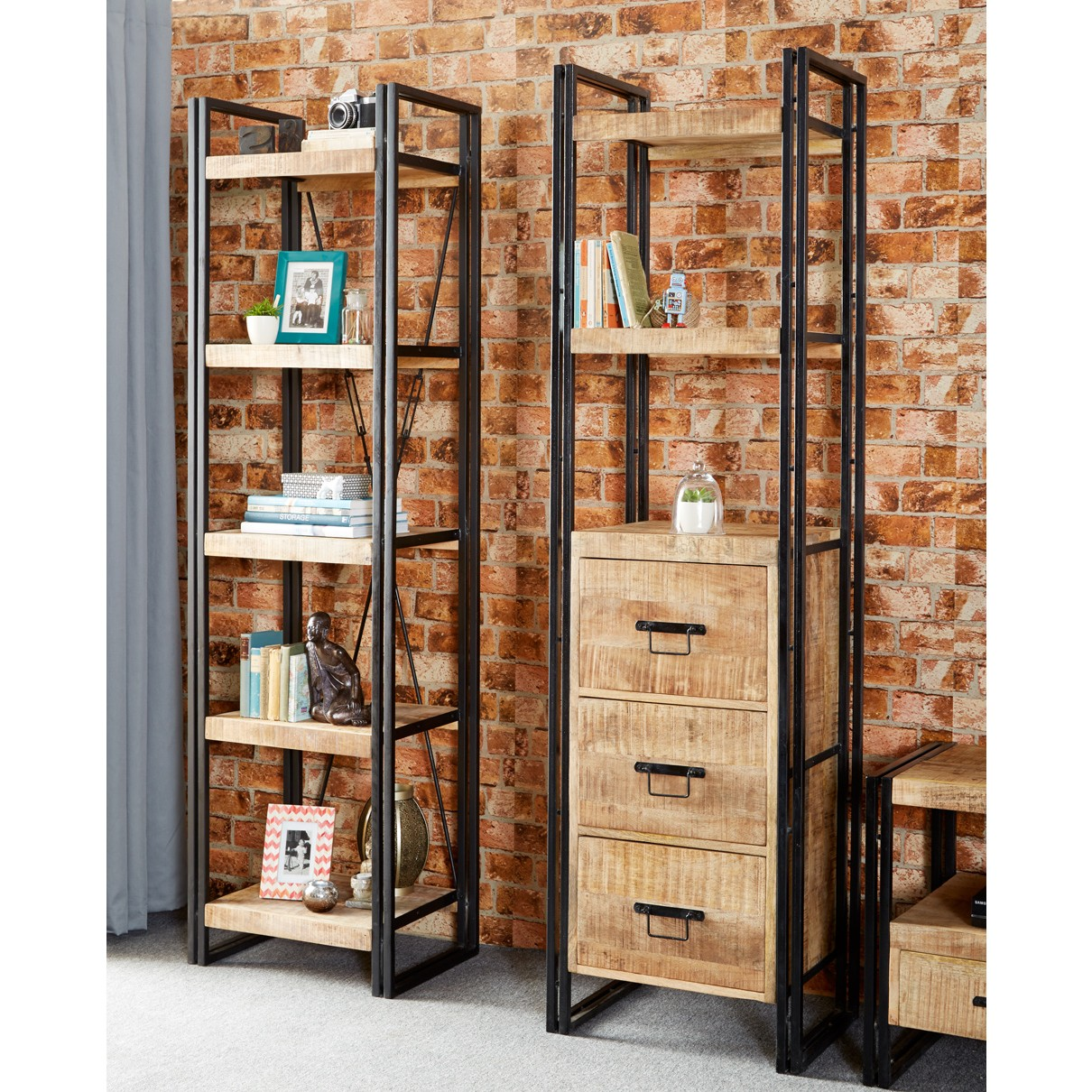 Indianhub Cosmo Industrial Slim Bookcase
